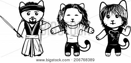 Vector modern fashionable dressed cats. Part 7.