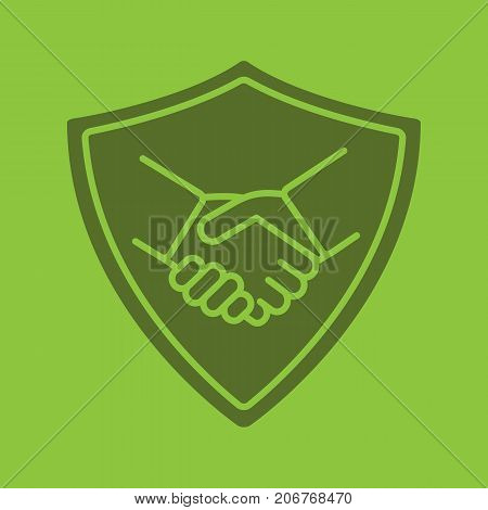 Safe bargain glyph color icon. Silhouette symbol. Protection shield with handshake. Negative space. Vector isolated illustration