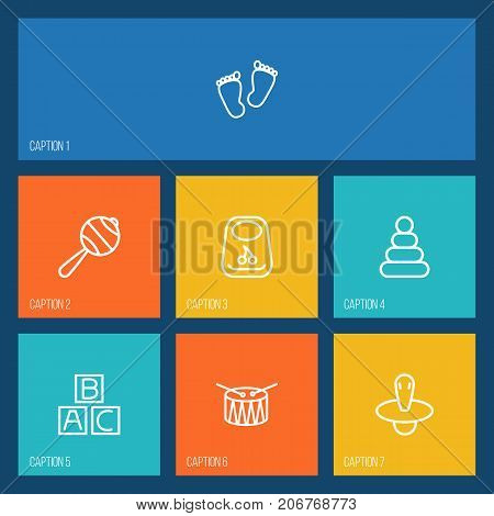 Collection Of Pyramid, Nipple, Alphabet Cubes And Other Elements.  Set Of 7 Kid Outline Icons Set.