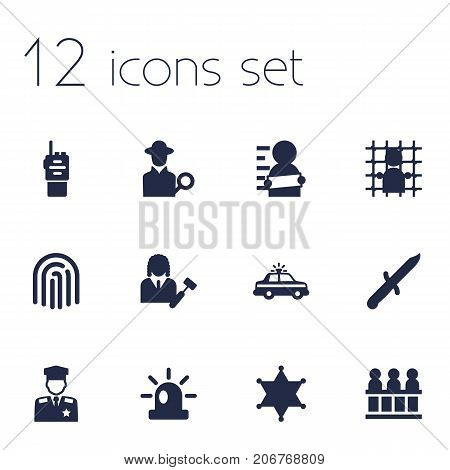 Collection Of Thumbprint, Jury, Bayonet And Other Elements.  Set Of 12 Crime Icons Set.