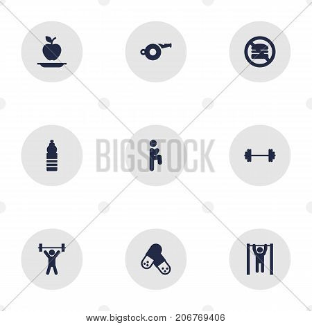 Collection Of Fitness, Capsule, Dumbbell And Other Elements.  Set Of 9 Fitness Icons Set.