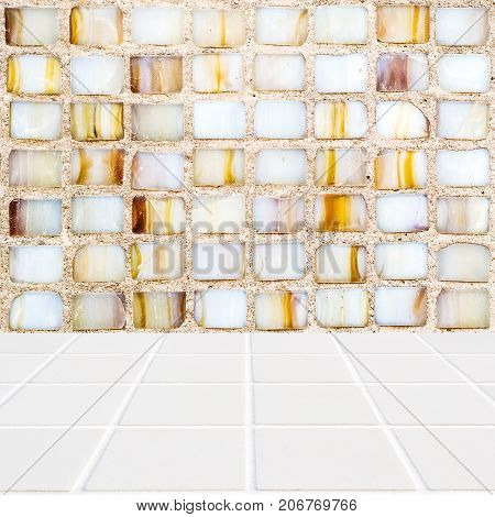 Multicolored Mosaic Background And White Mosaic Floor