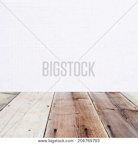 white little mosaic background and wooden floor in the front as a surface