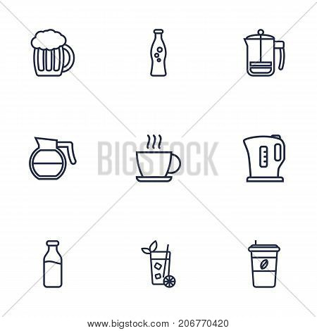 Collection Of Dairy, Soda, Cappuccino And Other Elements.  Set Of 9 Beverages Outline Icons Set.