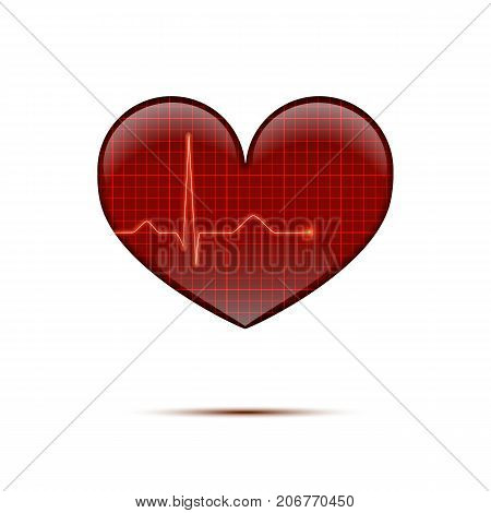 Vector isolated electrocardiogram background. Red line heart rate on the screen in heart shape.