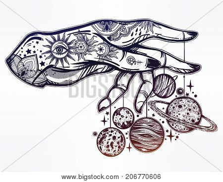 Flash Astronomy. Inked human hand, marionette puppet moon and planets, celestial drawing. Dotwork ink tattoo vintage design. Vector illustration isolated. Astrology, alchemy, magic, nature symbol art.