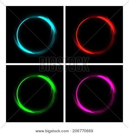 Vector fire blue, red, green and pink circles. Different color fire circles on black background. Fire ring glowing trace set.