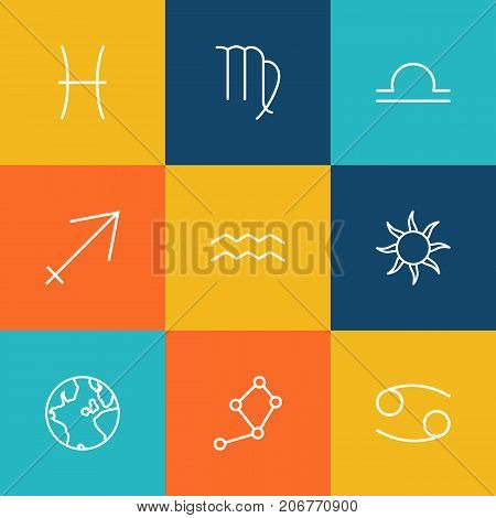 Collection Of Pisces, Globe, Sagittarius And Other Elements.  Set Of 9 Galaxy Outline Icons Set.