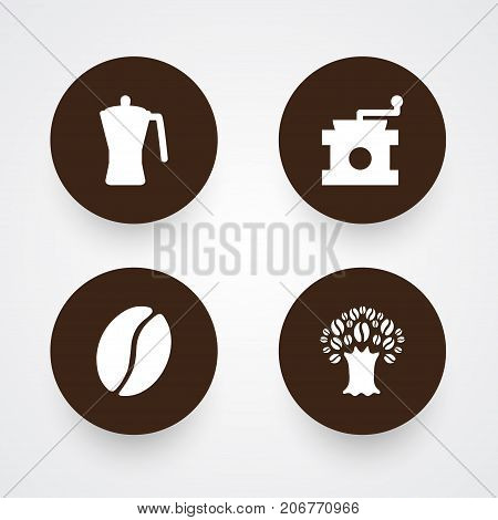 Collection Of Timber, Arabica Bean, Mocha And Other Elements.  Set Of 4 Beverage Icons Set.