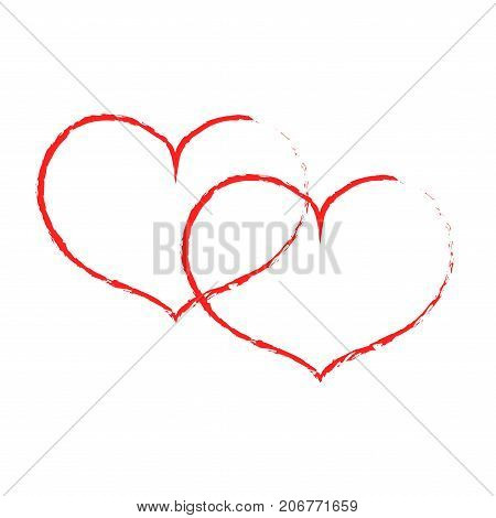 Sign red double heart. Image of love. Red icon isolated on white background. Color romantic symbol. Logo for passion. Light health content. Mark of Valentine. Stock vector illustration