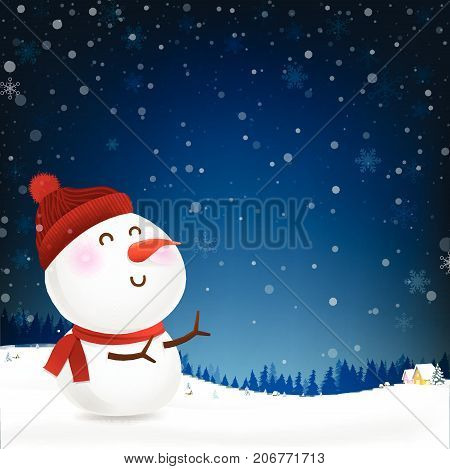 Snowman cartoon smile and blank copy space falling snow in the winter night backgroud vector illustration eps10