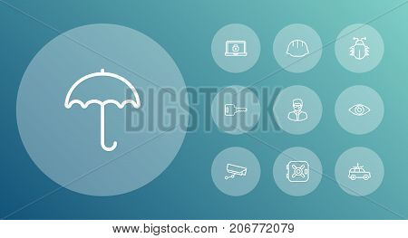 Collection Of Helmet, Parasol, Supervision And Other Elements.  Set Of 10 Procuring Outline Icons Set.