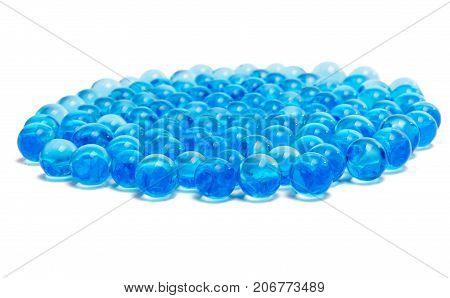 Blue capsules dose isolated on white background