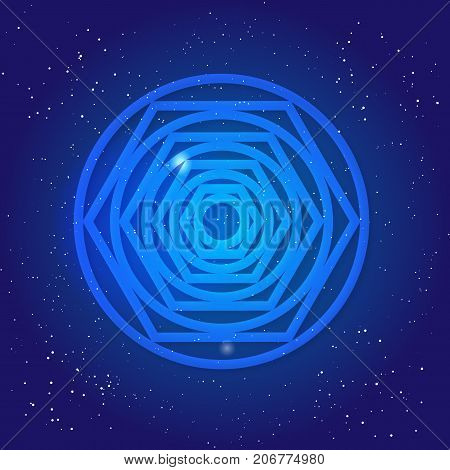 Sacred geometry figure, tunnel, black hole, in cosmic space. Magic symbol in Universe sky. Crossing reality 3d