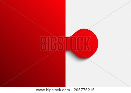 Red Piece Puzzle Round Infographic Presentation. 2 Step Business Diagram. Two Section Compare Service Banner. Vector Illustration Template Shape . Abstract Background.