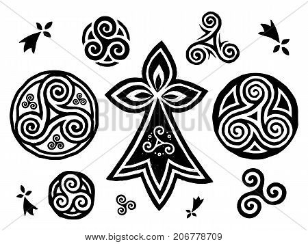 Breton and Celtic triskels symbols vector set isolated on white background