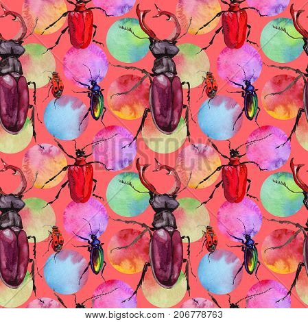 Exotic beetle wild insect in a watercolor style isolated. Full name of the insect: beetle. Aquarelle wild insect for background, texture, wrapper pattern or tattoo.
