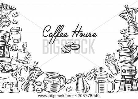 Hand drawn sketch coffee template page design with french press, cup, coffee pot and coffee beans.