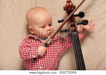 Child Boy With Cello