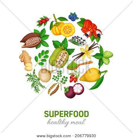 Healthy detox natural product of camu camu. Carob, ginger, moringa, lucuma, coji berries, mangosteen, acai, guarana and noni. Vector illustration superfood berries and fruits round poster