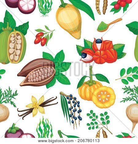 Vector superfood seamless pattern. Healthy detox natural product superfood illustration for design market menu.