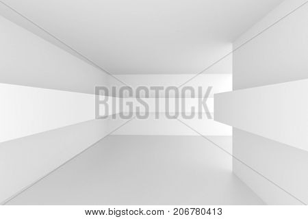 Abstract Architecture Design. White Futuristic Interior Background. Minimal Building Construction. 3d Rendering