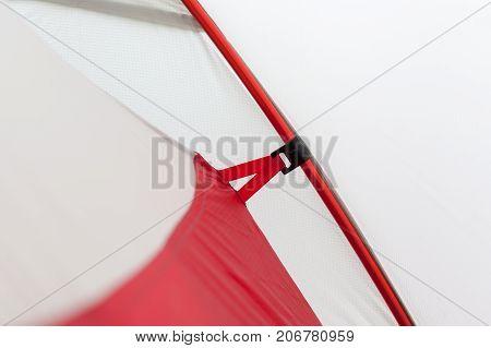 Closeup detail of camping tent. Aluminum Tent Poles and rainfly
