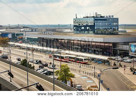 Prague Czech Republic - September 27 2017. Airport check-in hall of Vaclav Havel Airport Prague areial view from parking hale. Prague Airport is the main air gate to the Czech Republic.