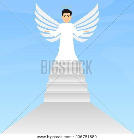 Angel stands on the steps angel with wings and halo. Flat design vector illustration vector.