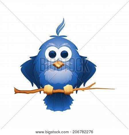 Cartoon blue bird sits on a branch. Cute little starling. Vector illustration.