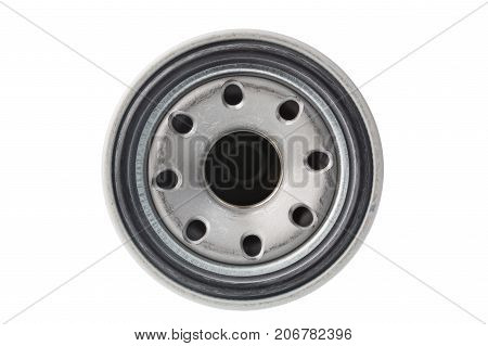 Oil filter isolated on a white background. Automobile car spare part.
