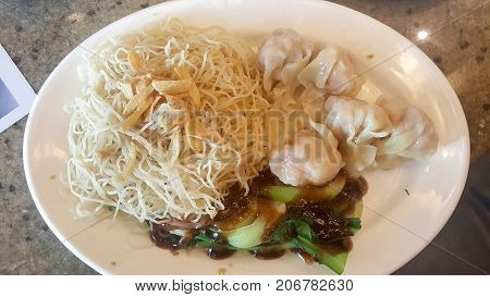 Wonton noodles in Chinese style very yummy poster