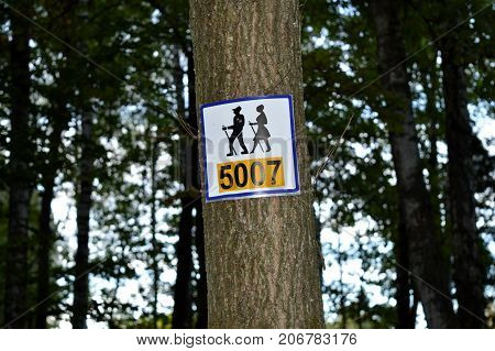 Indicative signs in the forest and parks.