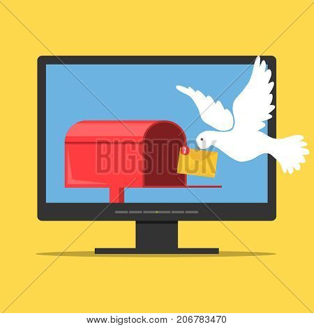 The mail pigeon brought the letter to the mailbox. The concept of receiving mail on the computer. A mail box on the computer monitor. Flat design vector illustration vector.