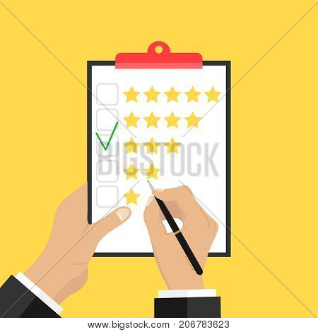 Putting the rating on paper. Hands hold a paper and put a rating of three stars. Flat design vector illustration vector.