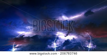 Thunderstorm clouds with lightning at night, rainstorm.