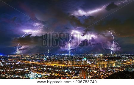 Thunderstorm Clouds With Lightning At Night In Seoul, South Korea.