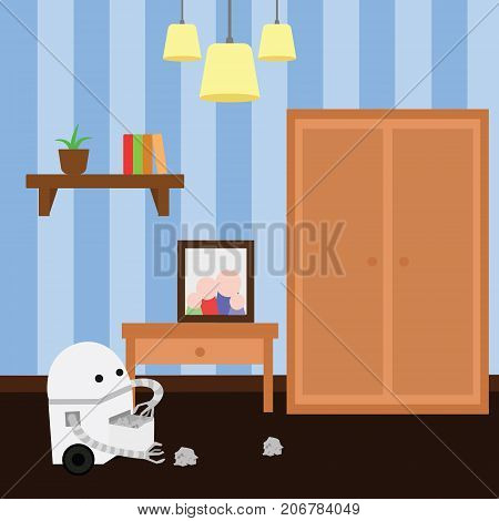 Domestic robot doing cleaning in a room collecting clutter. Personal robot housekeeping futuristic concept illustration vector.