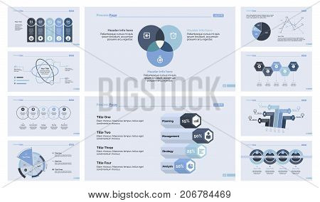 Business presentation design set for workflow layout, diagram, web design. Marketing and trade concept. Option chart, atom graph, pie chart, percentage chart, venn graph, scatter plot, process diagram