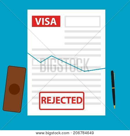 The visa is denied not given a visa. Flat design vector illustration vector.