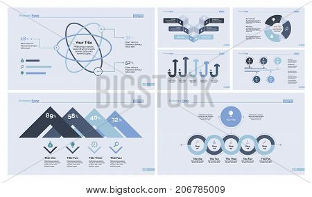 Charts and diagrams set for annual report, presentation, infographic. Management and marketing concept. Atom chart, percentage chart, donut diagram, flowchart, arrow graph, process graph, option graph