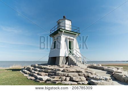 Port Clinton Lighthouse with a blue sky
