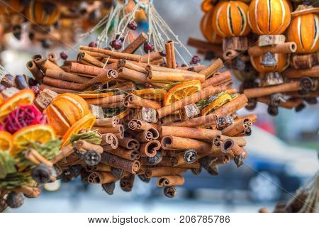combination of colores and fragrances on christmas market in an european city very strong cinnamon fragrance