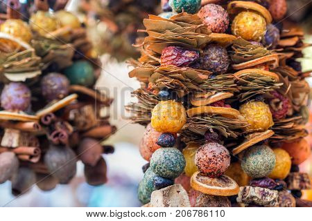 combination of shapes and fragrances on christmas market in an european city very strong cinnamon fragrance