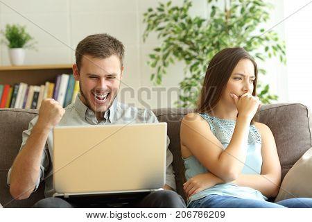 Luddite Husband Betting On Line Ignoring His Sad Wife
