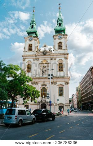 BUDAPEST, HUNGARY - AUGUST 22, 2017: Church of Saint Anne in Budapest, Hungary.  Street view on the church