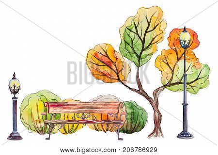 Watercolor hand drawn autumn background with park, outdoor elements, orange, yellow, green tree, bench, shrubs and lanterns on the white horizontal background