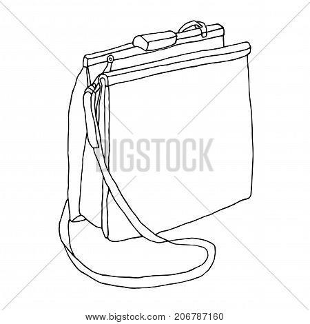 A purse. Artistic line art sketch. Open female bag with strap.