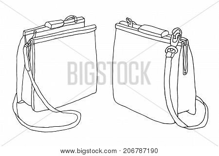 Two handbags. Various points of view. Hand drawn sketch bag artistic line art