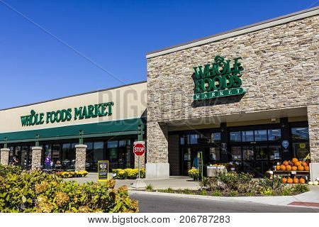 Indianapolis - Circa September 2017: Whole Foods Market. Amazon announced an agreement to buy Whole Foods for $13.7 billion VIII
